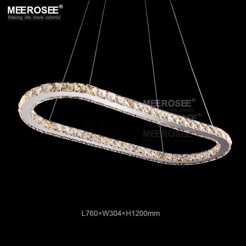 K9 Кристалл светодиодный подвесные светильники Серебряный Сталь Кухня освещения Подвески Круглый кольцо светодиодный Блеск Обеденная подвесной светильник