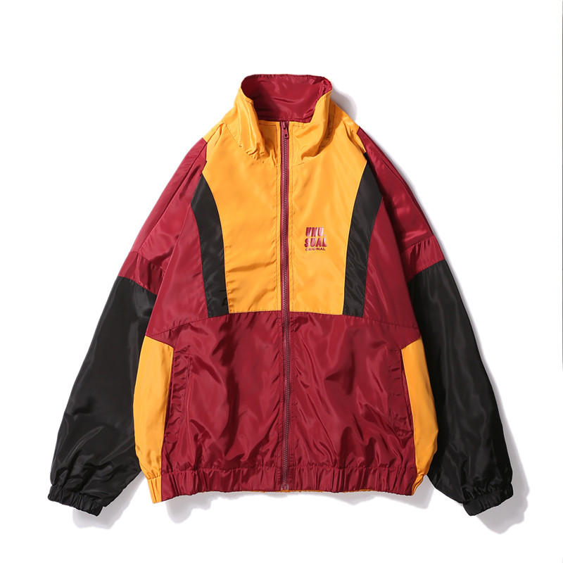 2019 SS Spring Oversized Windbreaker Jacket Hip Hop Color Block Jacket Coat Baseball Overcoat Letter Printed Zip Track Jacket