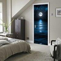 Imitation 3d Door Wall Sticker Premium Moon Stars of The Door Renovation Door Self-adhesive Decorative Waterproof Door Paste