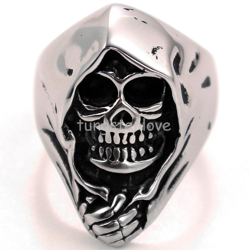 Retro Stainless Steel Biker Mens Gothic Skull Ring Engagement