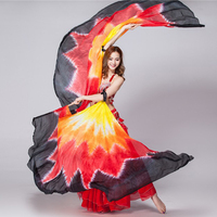 100% Silk Belly Dance Stage Costume Isis Wings Scarf Viel Fan 1 Pair Stage Performance Props Shawl Veils