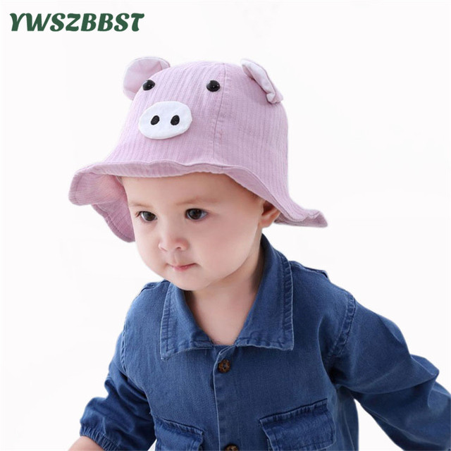 30082641bc0 2019 New Spring Summer Baby Girls Sun Hat with Pig Ear Children Bucket Hats  Cotton Baby Hat Kids Beach Cap for Boys Sun Cap