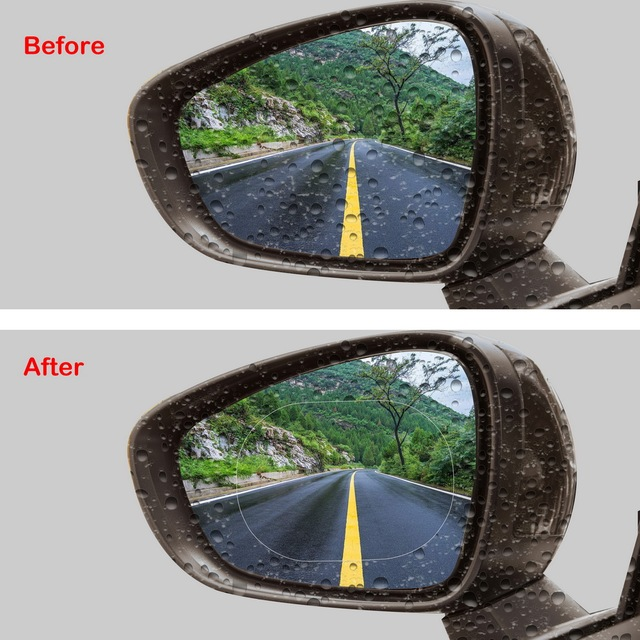 2PCS/Set Anti Fog Car Mirror Window Clear Film Anti-glare Car Rearview Mirror Protective Film Waterproof Rainproof Car Sticker 4