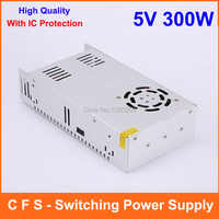 10pcs Single Output Switching power supply 5V 60A 300W Transformer AC To DC 5 V SMPS For LED Strip Light Free DHL shipping