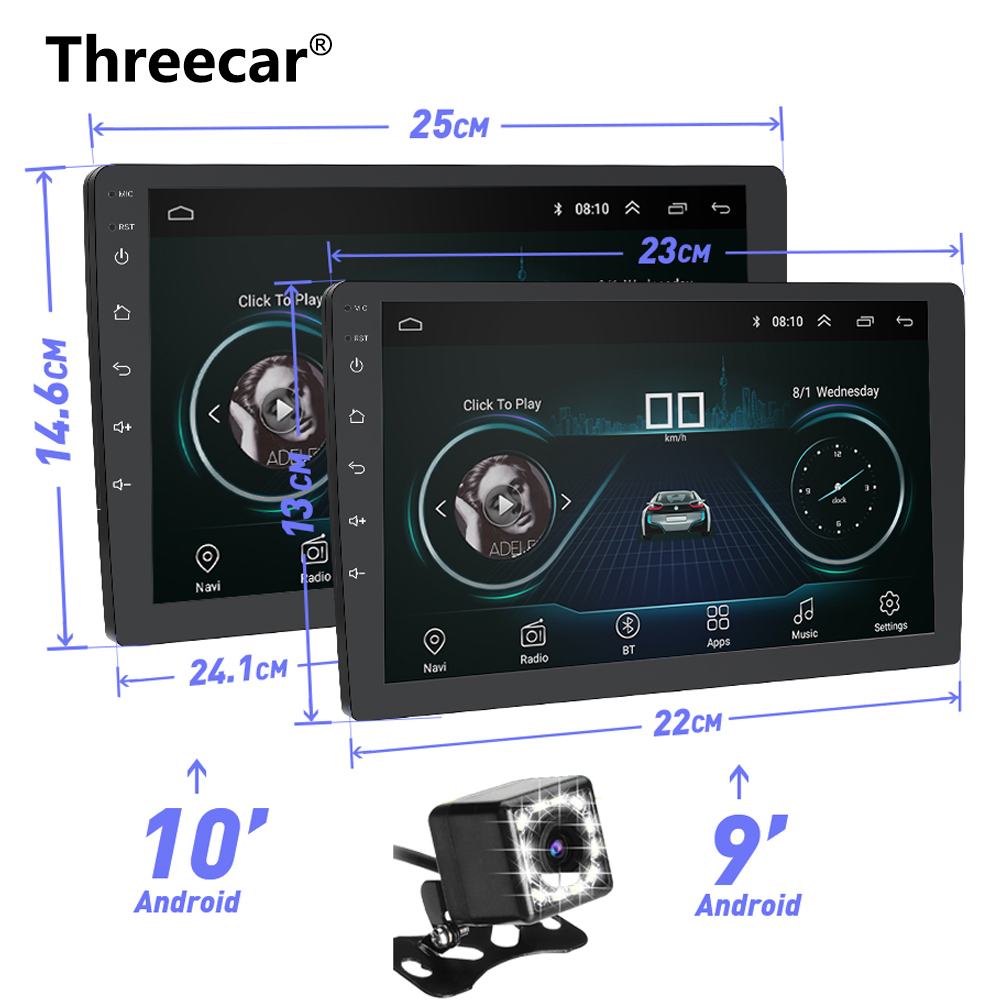 9 10 INCH Android 8.1 GPS Navigation Autoradio Multimedia DVD Player Bluetooth WIFI MirrorLink OBD2 Universal 2Din Car Radio