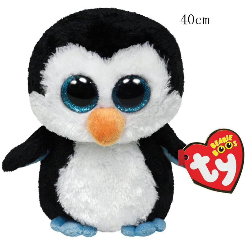 Ty Beanie Boos Waddle The Black Penguin Plush Toy Doll Animal Large 16 40cm мягкие игрушки ty beanie boos дельфин surf