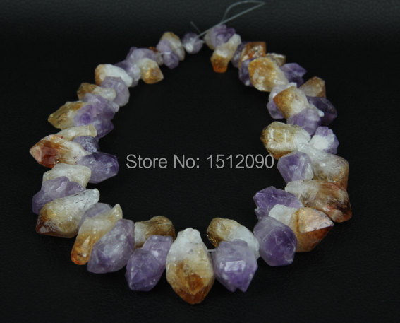 35pcs/strand Natural Yellow Quartz Faceted Nuggets Points,Raw Crystals Top Drilled Graduated Cut Pendant 6-12x15-28mm