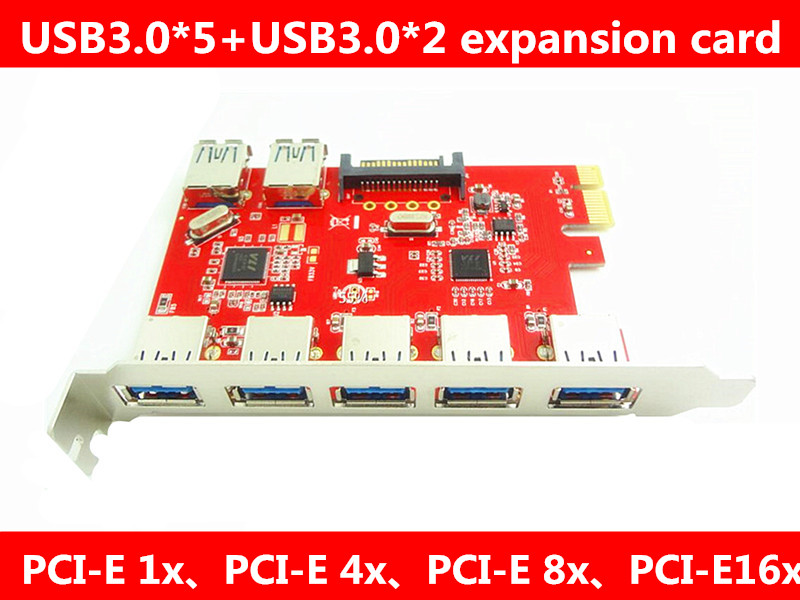 PCI-E Desktop machine <font><b>5</b></font> mouth <font><b>USB3.0</b></font> adapter card built-in <font><b>2</b></font> mouth USB.0 expansion card image