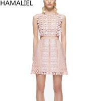 HAMALIEL Runway Summer Dress 2018 Self Portrait Pink Lace Sleeveless Patchwork Hollow Out Floral Women Tank Party Mini Dress