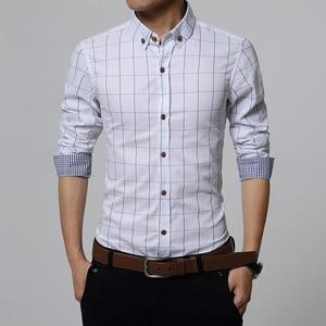 Image 5 - Nowa jesienna moda marka mężczyźni ubrania Slim Fit mężczyźni koszula z długim rękawem mężczyźni wygodne męskie bawełniane koszule w kratkę społecznej Plus rozmiar M 5XL