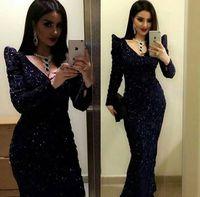 New Arrival V Neck Long Sleeves Sequins Lace Straight Black Prom Dress 2018 Vestido De Festa Plus Size