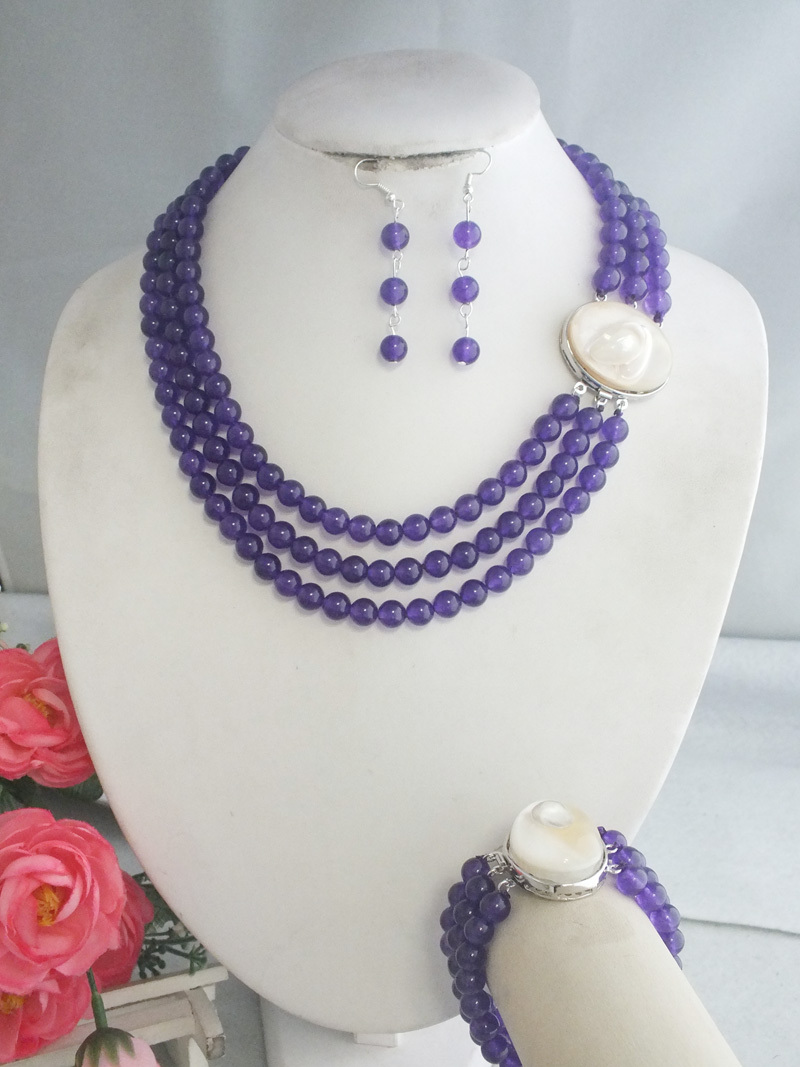 FreeShipping A 4198 New Purple Design 2017 Nigerian Natural stone Beads Jewelry Set For Bridal