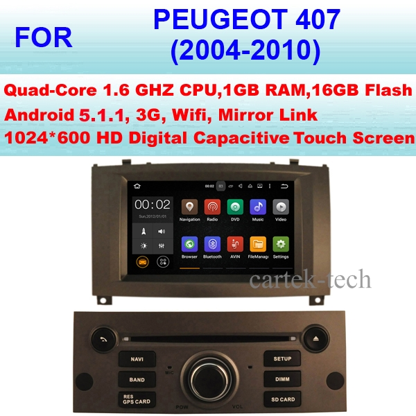Quad Core Android 5.1.1 Car Radio GPS For Peugeot 407 Car DVD Player (2004-2010) Stereo Audio WiFi 3G Mirror Link Pixel 1024*600