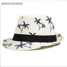 HANGYUNXUANHAO 2019 Classic Male Fedora Straw Hat Summer Hats for Men Beach Panama