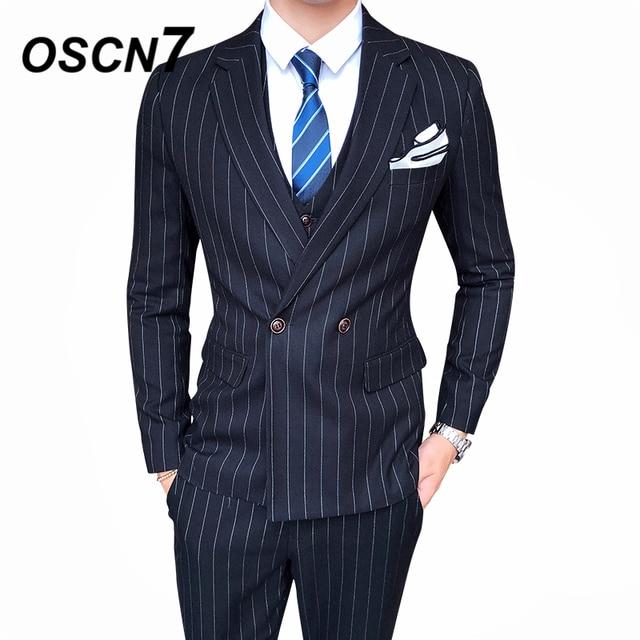 ada4376dad45 OSCN7 Casual Business Stripe 3 Piece Suit Men 2019 Wedding Dress Tuxedo  Suits for Men Party