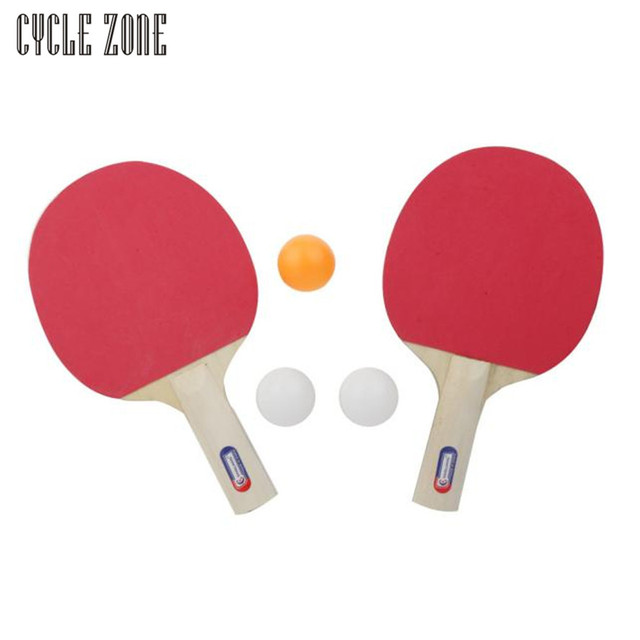 Portable Table Tennis And Grid Ping Pong Racket Set Two Sides Sponge Long  Handle For Child