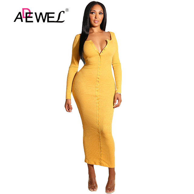 ADEWEL 2018 Sexy Yellow Long Sleeve Bodycon Party Maxi Dress Women Casual Slim Snap Button Ribbed Ankle Length Long Dress