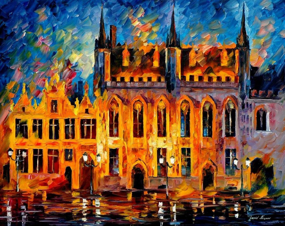 Fine watercolor art for sale - Painting For Sale Colorful Oil Paintings Canvas Bruges Modern Abstract Fine Art Home Decor High Quality