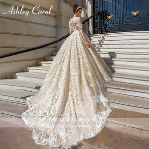 Image 4 - アシュリーキャロル高級ビーズレースプリンセスウェディングドレス 2020 v ネック長袖 a ラインカスタマイズされたウェディングドレス vestido デ · ノビア