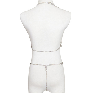 Image 4 - 女性金属チェーンセクシーな衣装のオープンブラジャーポルノランジェリーセクシーな衣装ファンタジアナイトウェアホルター Dessous フェチランジェリー