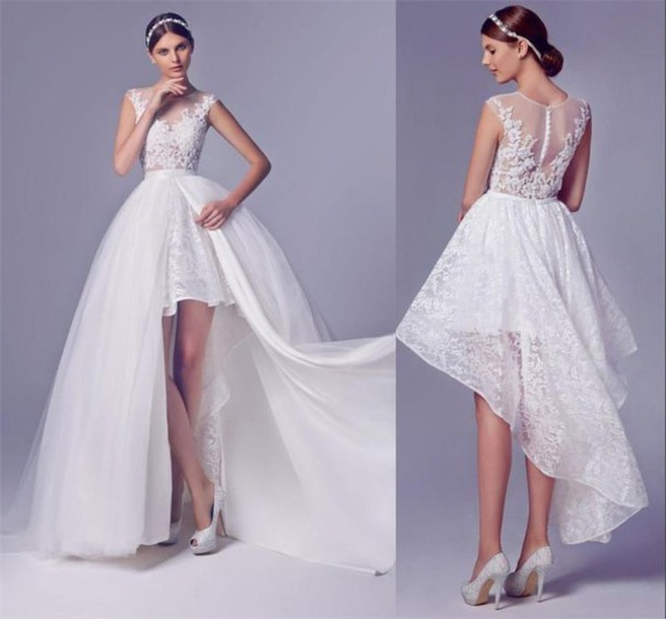 High Low Wedding Dresses With Detachable Skirt Beaded Short Front Long Back Lace Bridal Gowns
