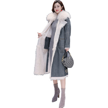 2019 New Down Jacket Female Slim Solid Warm Coat Fur collar Parka X-Long Jackets Womens Thicken Plus Size Outerwear Parka Winter цены онлайн