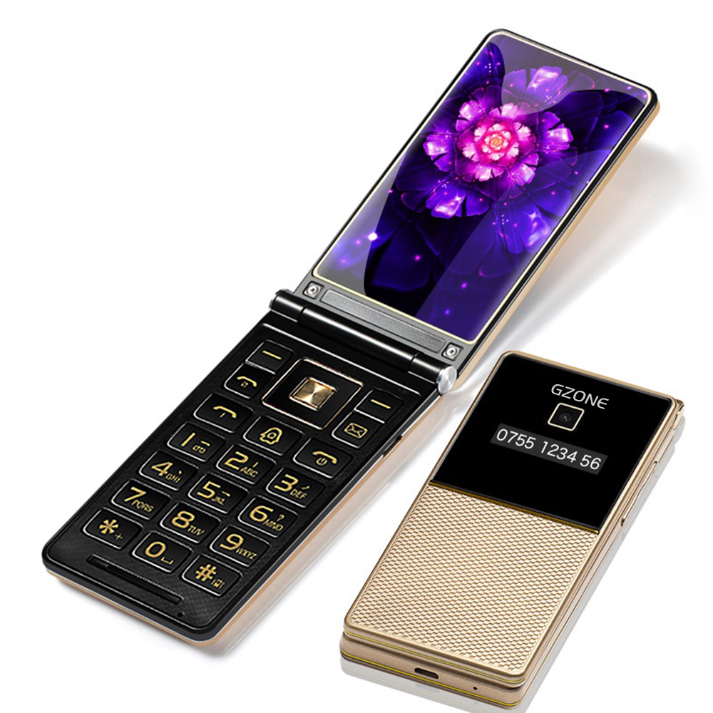 """Dual Display 2.8\"""" Handwriting Flip Cover Senior Mobile Phone Extra Slim Light Big Russian Key Black List Cheap Price Two Sim FM"""