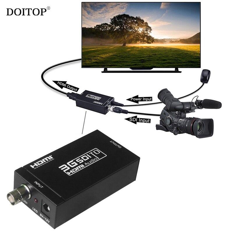 DOITOP Mini 3G SDI to HDMI Audio Converter HD 1080P SDI to HDMI Audio Video Adapter Converter For SDI Camera DVR Detector TV