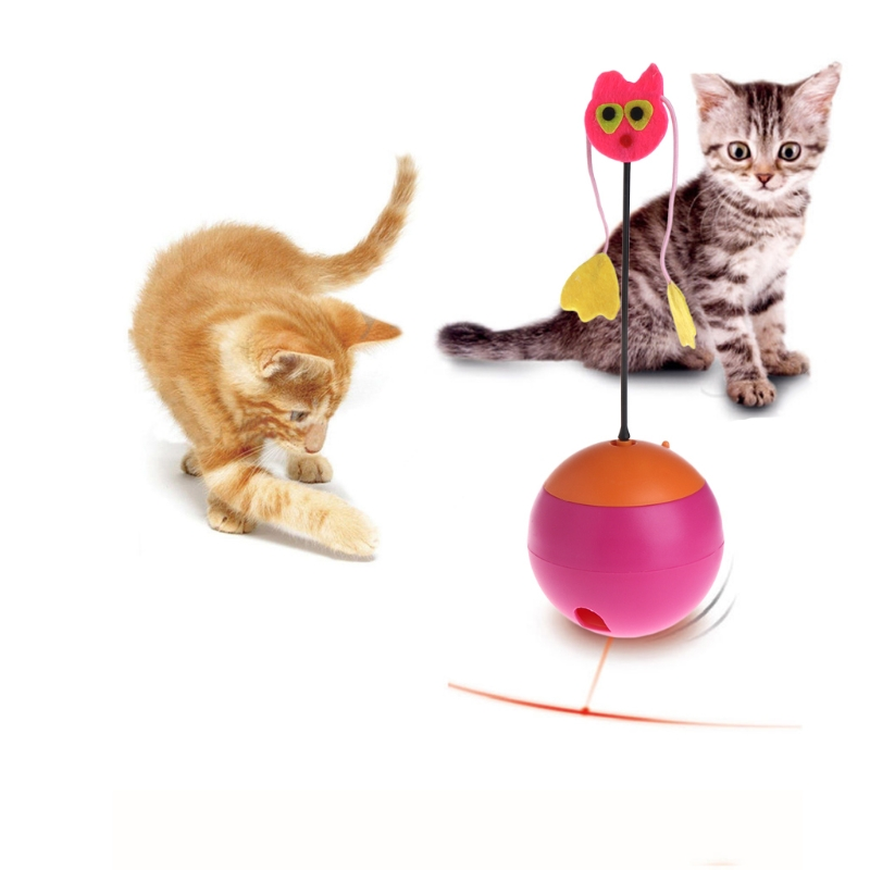 Pet Cat Toy Electric Tumbler Rolling Food Dispenser Feeder Funny Ball Dog Kitten Puppies Toys