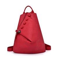 2019 Women Backpacks Leather Female Travel Shoulder School Bags For Girls Sac a Dos Solid Back Pack Female Vintage Bagpack New