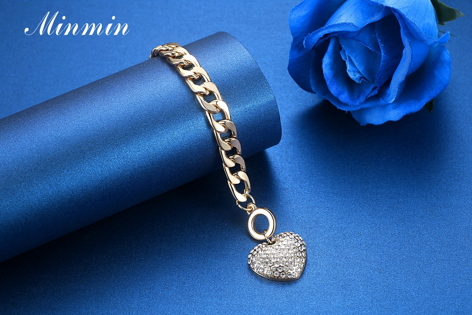 Minmin Lovely Silver/Gold-Color Strand Bracelets for Women Heart Crystal Pendant Chain Bracelets & Bangles Fashion Jewelry SL063 4