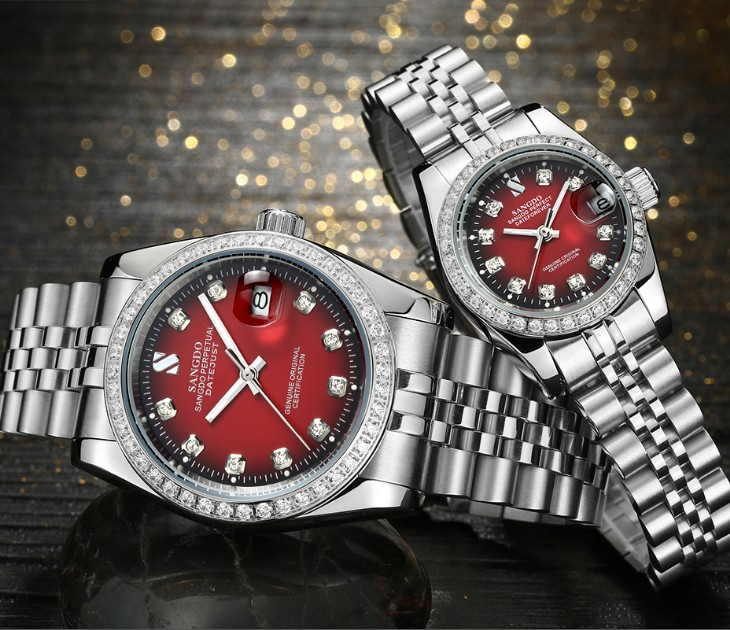 SANGDO Black- Red Dial Automatic Self-Wind Movement High Quality Luxury Couples Watch Mechanical Watches 026S
