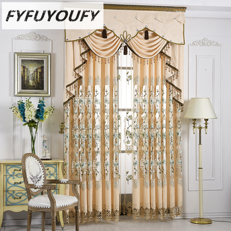 Europe luxury grace Embroidered French Window Blackout curtains the curtains in the Livingroom high-end Customizable curtain