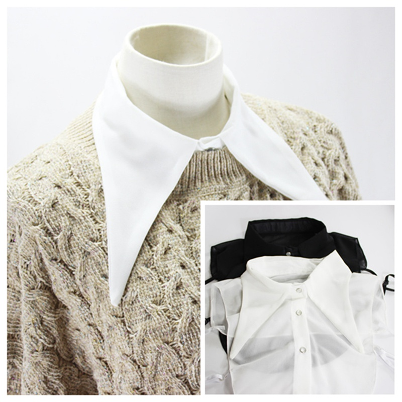 1pcs Women Long Pointed Collar Chiffon Detachable Faux Fake Lapel Shirt Sweater Collar Fashion Clothing Accessories BBB0842