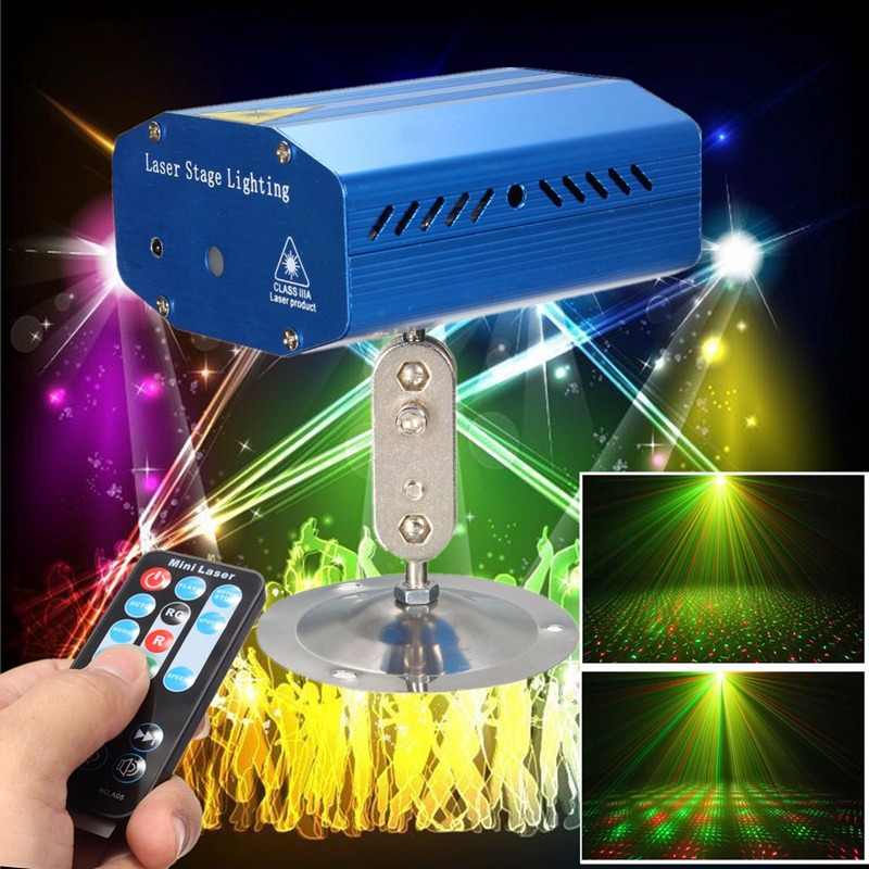 Mini Auto/Voice R&G LED Stage Lamp Light Laser LED Stage Lighting Effect Projector X-mas Party Disco Club New Year Decor Lights rg mini 3 lens 24 patterns led laser projector stage lighting effect 3w blue for dj disco party club laser