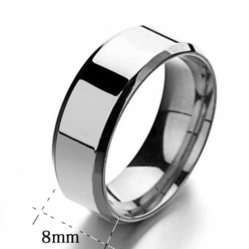 Aleación espejo de acero inoxidable anillo de moda joyería personalidad amantes anillo creatividad regalo accesorios Simple nuevo