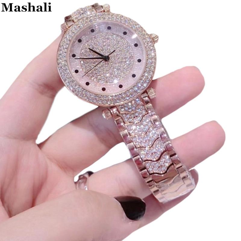 Mashali Marke Uhr Quarz Damen Rose Gold Mode Uhren Diamant Edelstahl Frauen Armbanduhr Mädchen Weibliche Clock Stunden-in Damenuhren aus Uhren bei  Gruppe 1