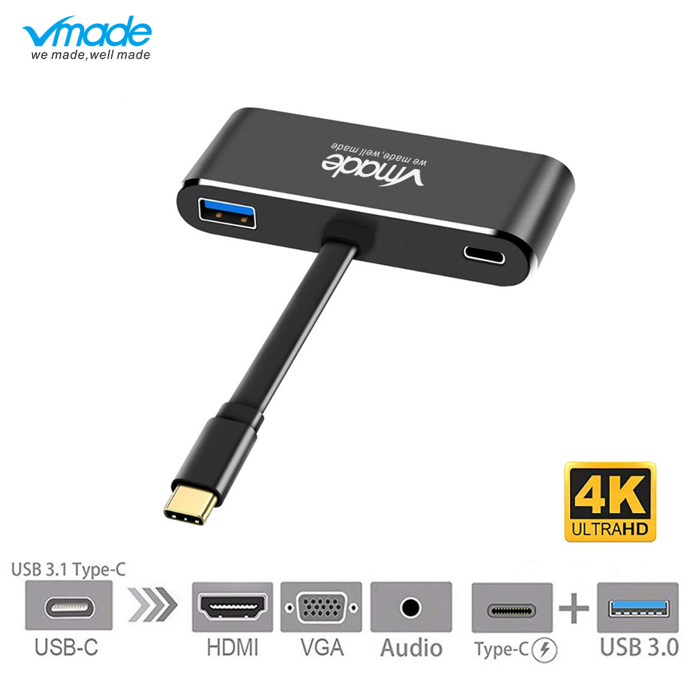 Vmade High Quality Mini Displayport Type C USB C 3 0 to DP VGA 5 in 1 Adapter for PC Computer Samsung Galaxy S9 1080p Converter in USB Hubs from Computer Office