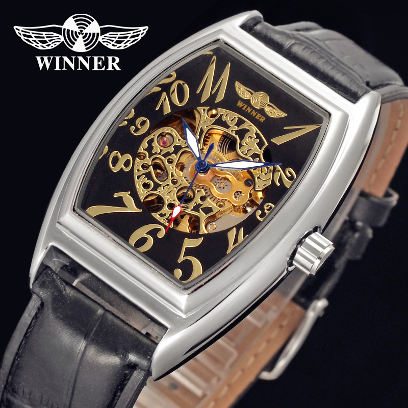 WINNER Men Luxury Brand Rectangle Casual Skeleton Leather Strap Watch Automatic Mechanical Wristwatches Gift Box Relogio Releges fashion winner men luxury brand business skeleton leather strap watch automatic mechanical wristwatches gift box relogio releges