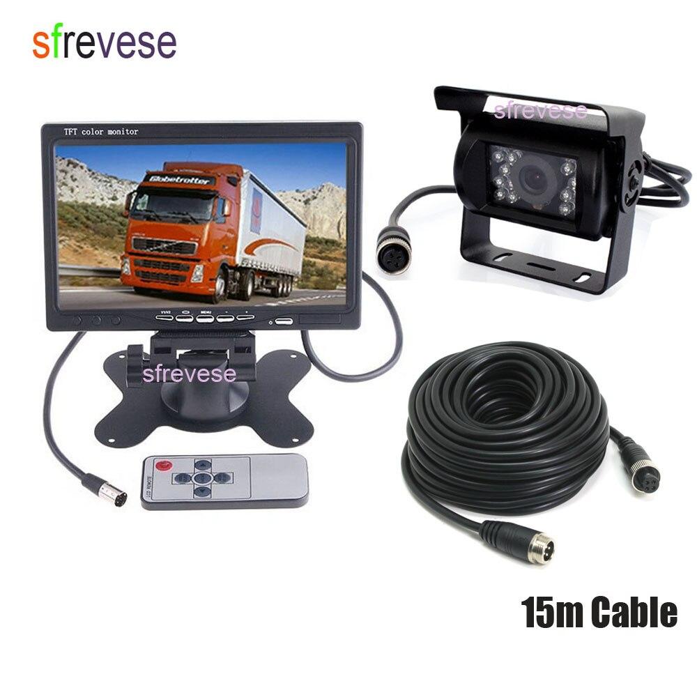 4Pin Waterproof CCD Reversing Backup Camera Free 15M Cable 7 Car LCD Monitor Caravan Rear View