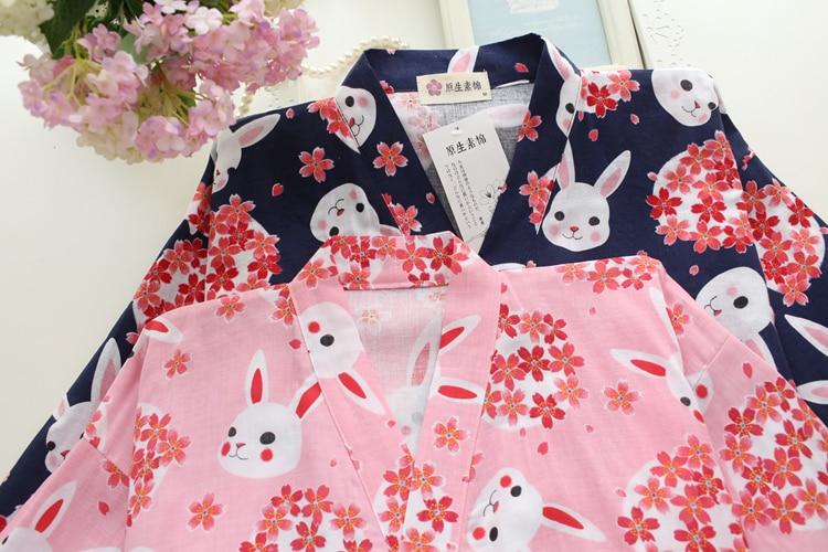 Image 4 - Весна Сакура кроличье кимоно пижамы наборы для женщин 100% хлопок двойной марли с длинным рукавом пижамы японское кимоно для женщин-in Комплекты пижам from Нижнее белье и пижамы on AliExpress - 11.11_Double 11_Singles' Day
