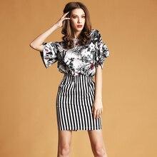 Summer Style Women Elegant Skirt Suits Vintage Floral Print Coat and Black White Striped Short Skirt Women Suit 2016 Plus XL