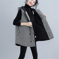 2019 New Lattice Large Size Guilted Hooded Cotton Vest Autumn Winter Women Jackets Coats Casual Sleeveless Women's Clothing X174