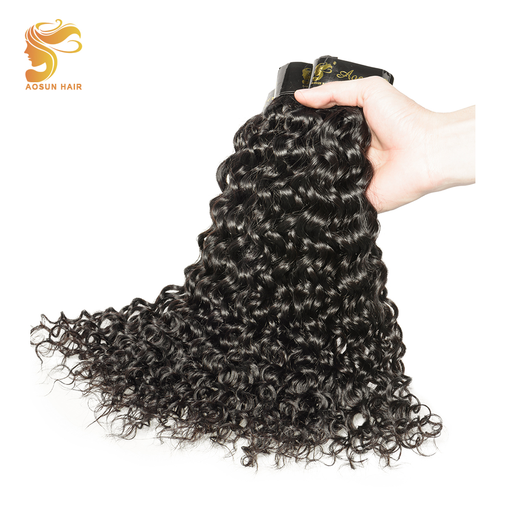 AOSUN Curly Hair Bundles Italian Curly 100% Human Remy Hair Extensions 3 Bundles Deal 8-28inch Can Be Dyed Remy Hair Weave