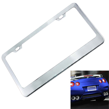 Newest Universal Fashion Waterproof Car License Plate Box Mirror Polished Chrome and 2 Fasteners for Most Cars