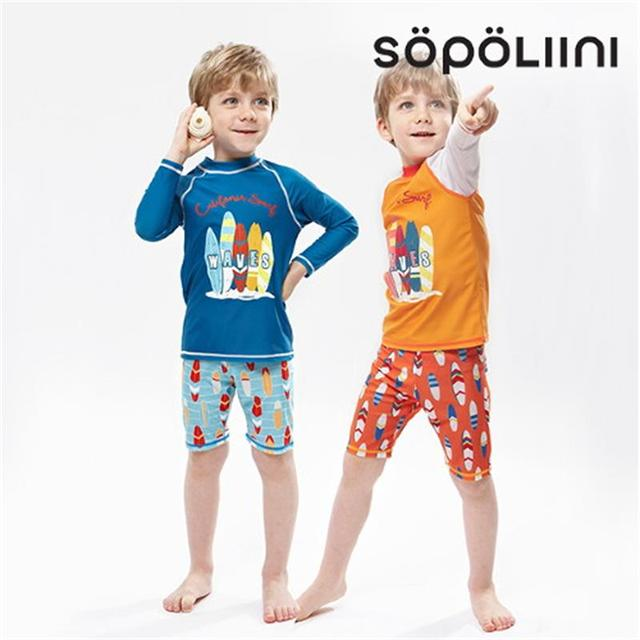 ca5e2f87b5 S-XXL Children Bathing Suits 2018 new Long sleeve Sunscreen print Two Pieces  courageous Boys Swimwear Baby Trunks Swimming Suits