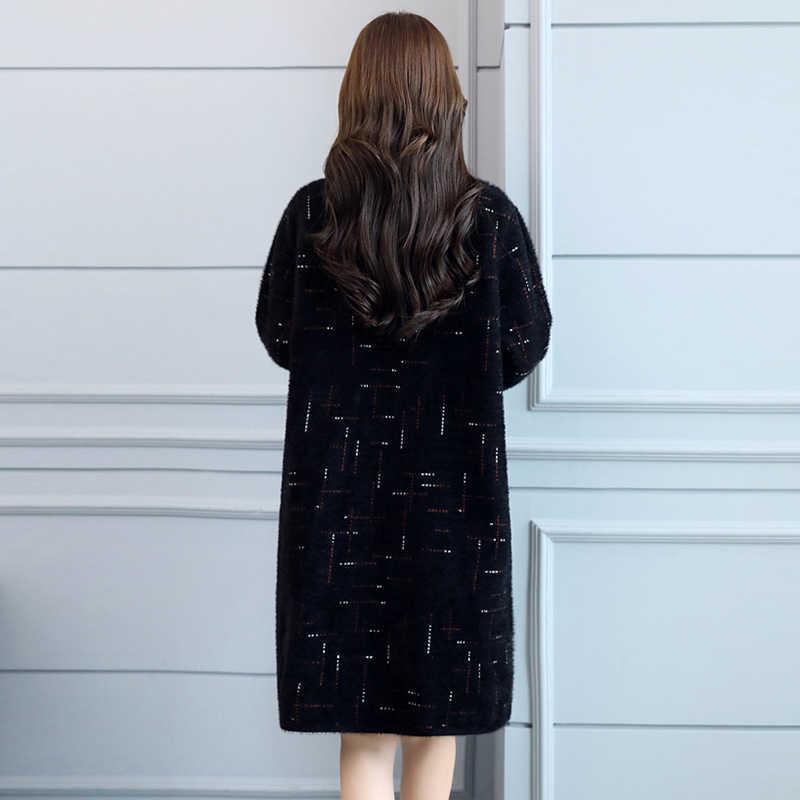 ミンクの毛皮カシミアコート 2018 秋の冬の女性のダブルブレストウールコートジャケット女性のロングミンクの毛皮ジャケット FP1627