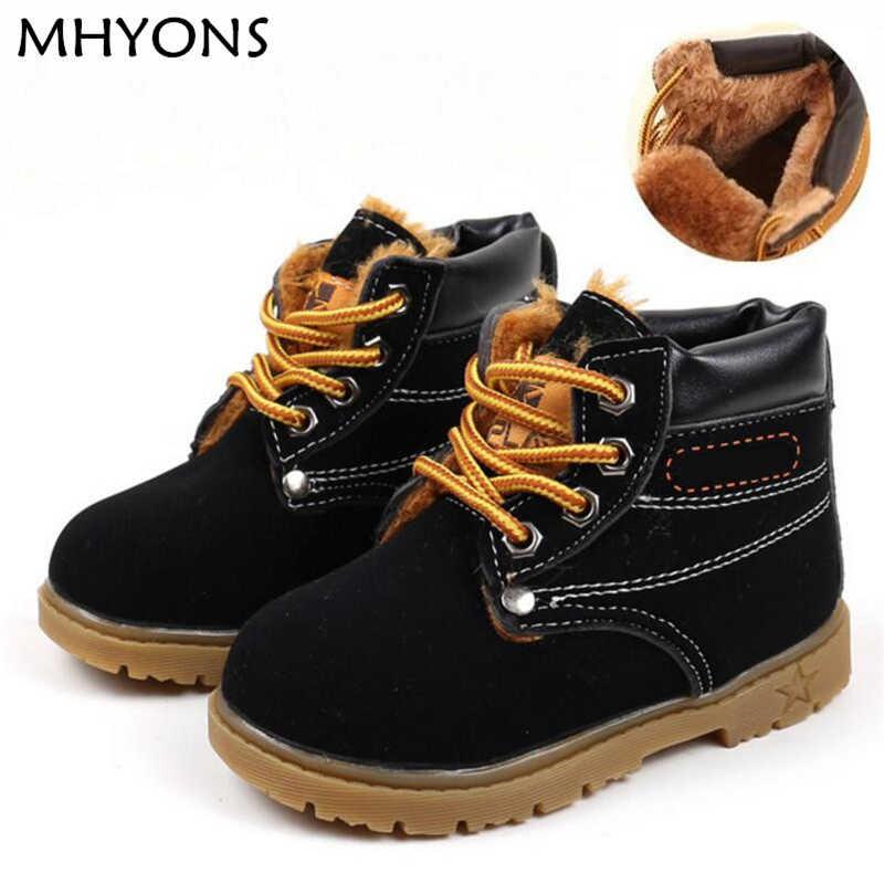 Детская зимняя кожаная плюшевая обувь; ботинки для маленьких мальчиков; осенние модные ботинки martin с мехом; детские мягкие уличные ботинки для девочек