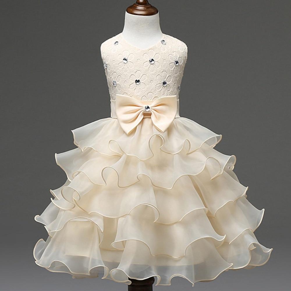 fea05005cefcd Enfants enfants dentelle robe de bal fleur filles bébé fille perles Tutu  princesse robe pour le mariage Pageant robes robes S2834