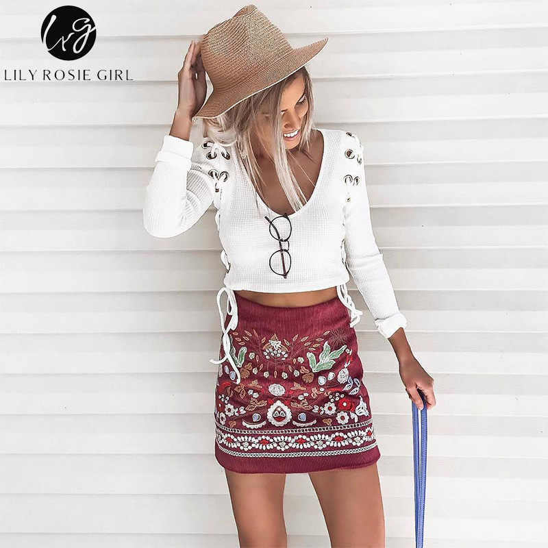 Лили Rosie девушка сексуальный v-образный вырез с ушками и шнуровкой наружу Для женщин белый трикотажные рубашки 2018 осень-зима блуза рубашка с длинными рукавами; Цвет Черный; Топ